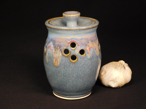 Garlic Canister - Garlic Storage Jar - Potpourri Keeper - Garlic Canister Jar - Garlic Jar - Ceramic Garlic Jar - Jar For Garlic - In Stock
