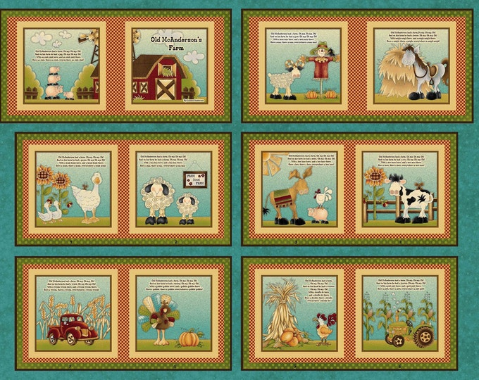 Children's Fabric Book Panel, McAnderson Farm by Leanne Anderson for Henry Glass