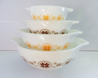 Pyrex Town and Country Bowl Set, Town and Country Bowls, Pyrex Brown Bowls, Pyrex Orange Bowls