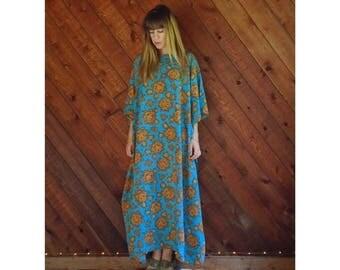 25% off Flash Sale . . . 60s 70s Rose Floral Dashiki Boho Maxi Dress - OS OSFA - Blue and Gold