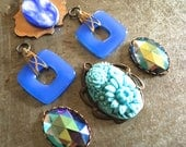 Vintage Glass Pendants and Charms Retro Summertime Blue Skies Assortment
