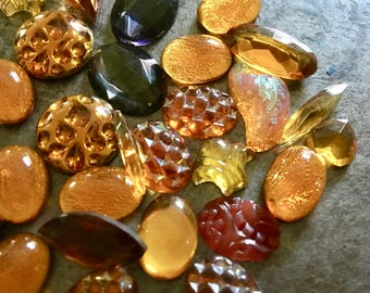 Vintage Glass Cabochons and Jewels Huge Lot Amber Waves Assortment
