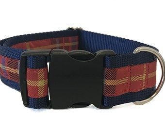 "1.5"" Red and Navy Plaid Dog Collar Buckle or Martingale or Leash"