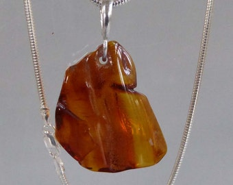 "Natural Baltic Amber freeform shape silver snake chain 16"" ready to ship"