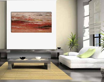 Original large abstract landscape painting palette knife wall art deco by Elsisy 48x24 Free US shipping