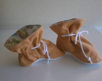 Apricot corduroy TV baby booties/soft sole shoes SIZE LARGE