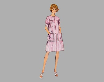 1974 Smock Dress or Top sewing pattern Simplicity 6414 Bust 38 Ruffle sleeves Patch pockets UNCUT Sleeve with bands Front button closing FF