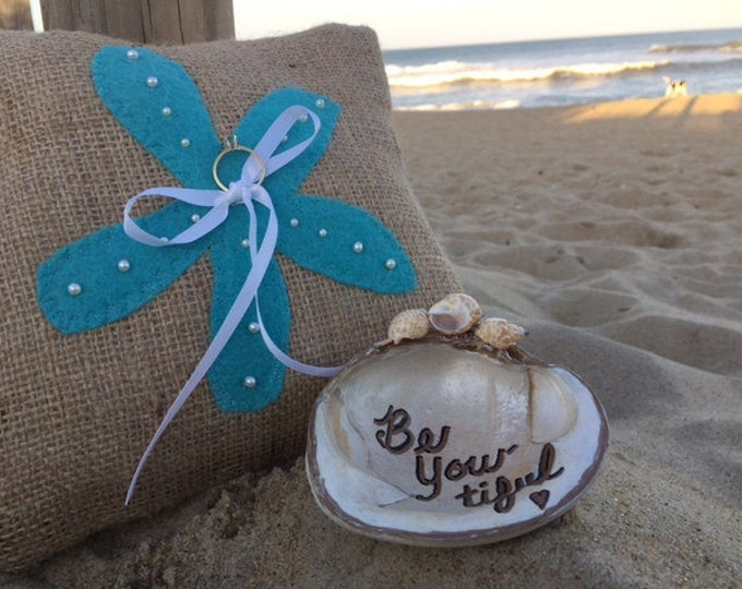 Burlap ringbearers pillow starfish Beach wedding rustic ring pillow outdoor wedding Outer Banks Beach House Dreams aqua turquoise decor