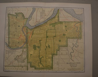 1912 City Map Kansas City Missouri - Vintage Antique Map Great for Framing 100 Years Old