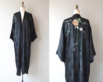 Yuki floral wrapper | vintage 1950s chinese robe | embroidered 50s kimono robe