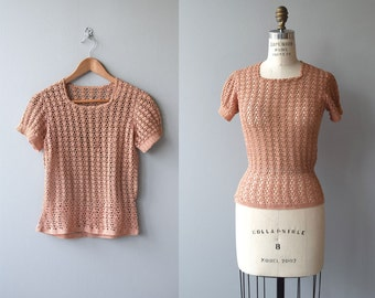 Coral Rose sweater | vintage 1930s sweater | cotton crochet 30s sweater