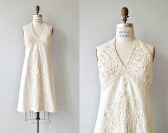Summer of Love dress | vintage 1970s dress | linen 70s halter dress