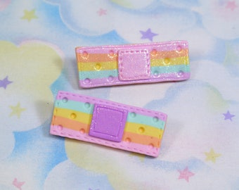 Kawaii rainbow band-aid - Polymer clay Fairy Kei decora pastel hair clip