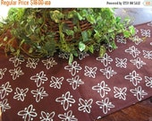 ON SALE Table Runner Padded Modern Aqua Print on Brown Padded