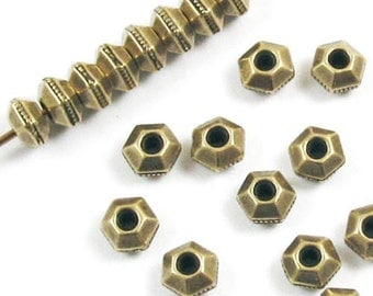TierraCast Pewter Beads-Brass Oxide FACETED HEXAGON SPACER 5mm (25)
