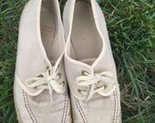 Spring Sale Gidget Sneakers - 1960s Khaki Twill Lace Up Sneakers