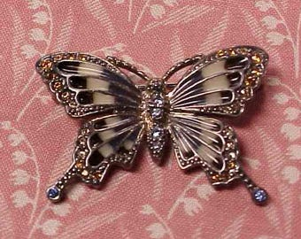 Vintage Monet Signed Rhinestone and Enamel Butterfly Brooch pin