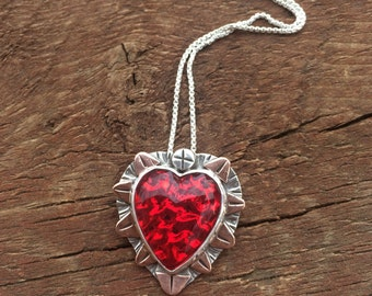 Red Heart Necklace, Red Glass Heart Necklace, Artisan Heart Necklace