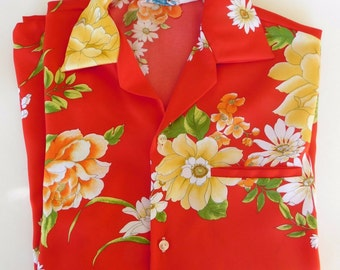 Vintage 1950/60's KONA COAST Red Floral Hawaiian Aloha Mens Shirt, Hand stitched Vibrant Red with flowers Amazing & Rare design