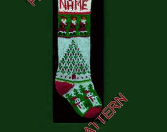 Hand knit Christmas stocking,  pattern only --- Sanowman, Christmas tree and Santa