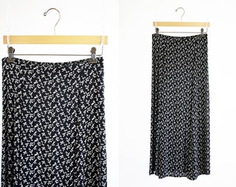 That's Me! Brand 90's Black and White Floral Print Sheer High Waist Midi Length Woman's Retro Skirt