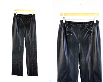 Vintage 90's Wilson's Leather Maxima Low Waist Boot Cut Retro Woman's Black Leather Pants