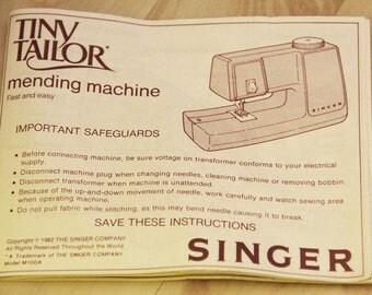Singer Tiny Tailor Sewing Machine Manual