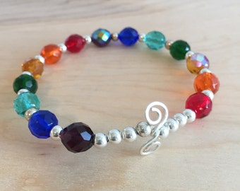 Rainbow Glass and Silver Beaded Bangle Bracelet