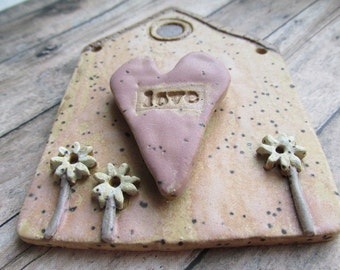 My Heart is at Home, House plaque, wall hanging, wall plaque, house themed, Home is Where the Heart Is, tracee, unique clay creations