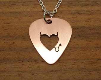 Horned Heart Necklace, Guitar Pick, Copper Necklace, Devil Heart Pendant, Keychain, Pick Pendant, Copper Pick, Gift, Chain Or Key Ring