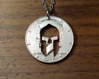 Spartan Necklace, Helmet Molon Labe Necklace, Spartan Helmet, Spartan Pendant, Necklace Or Key Ring, Come And Take Them,  Molan Labe