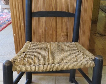 Early Primitive Small Ladder Back Chair Original Black Paint