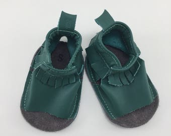 Studio Sale - Dark Green Leather baby moccasin Sandals on sale, size S fits 9-12 months