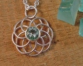 Sterling Silver Wire Circles Round Pendant with 8mm round Blue Green Vintage Insulator Glass Faceted Stone