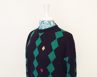 Vintage men's sweater // 1980's geometric diamond pullover // retro cool sweater