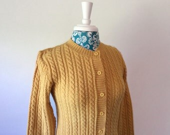 vintage 1960's sweater // mustard gold cardigan // 60's NWT NOS skinny fit