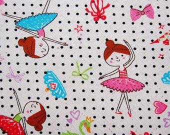 Cotton Linen Blend Fabric - Ballerinas on Polka Dots - Half Yard