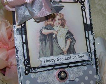 Graduation Card Handmade Vintage Style Girl's Graduation Shabby Chic Cottage Style