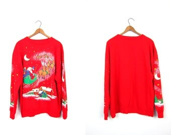 Ugly Christmas sweatshirt 80s Tacky Xmas Sweater Happy Holidays SANTA REINDEER Scene Red Party Sweater Moon Stars Snow Womens Large