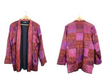 Ethnic Thai Silk Jacket Vintage Patchwork Ikat Kimono Coat Pink Purple Colorful Tribal Bohemian Open Jacket Slouchy Festival Womens Large