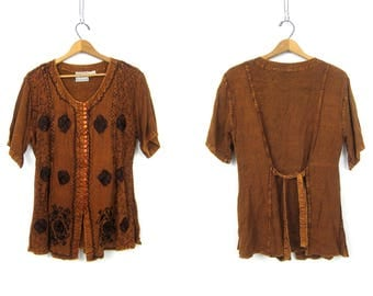Vintage Embroidered Rayon Blouse BOHO Ethnic India Shirt Long Button Front Tunic Top Copper Brown Blouse w Embroidery Womens size XL