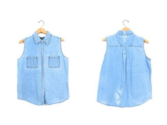 90s Sleeveless Jean Shirt Faded Worn In Denim Button Up Shirt Light Blue Bleached 1990s Boho Tank DES Vintage Womens Large