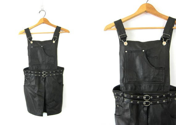 Vintage 90s Faux Leather Shorts Suspenders Bibs Sexy One Piece Shorts Outfit Belted Knickers Women's Size 9 10 Medium