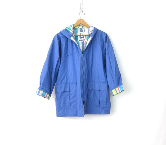 Periwinkle Blue Vintage raincoat Plaid Lining hooded vinyl rain slicker jacket Spring Coat with Hood Women's Size Medium