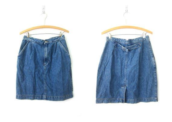 80s Jean Skirt Blue Denim High Waisted Skirt Vintage High Waist Skirt Grunge Street Wear Hipster Girl Skirt Vintage Womens Size 10 P Medium