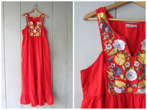 Vintage Long Red Maxi Dress Floral Embroidered Boho Dress Cotton Hippie Vintage Sundress Embroidery Mexican Inspired Dress Womens XL Large