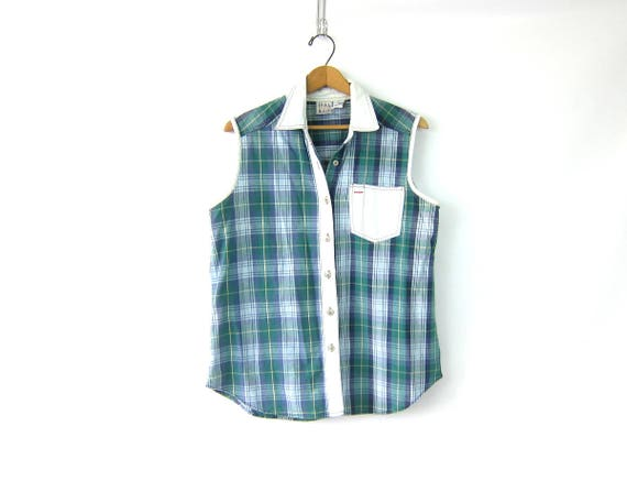 90s Plaid Cotton Shirt Denim Patch Pocket Shirt Collar Button Up Shirt 1990s Sleeveless Preppy Tee Blue and Green Shirt Women's Size Large