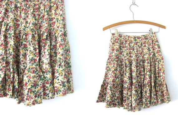 90s Mini Skirt Revival High Elastic Waist Flower Print Ruffle Tier Skirt Pale Yellow Pink Floral Pattern Rayon Skirt Vintage Size 6 Small