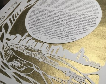 Gold Blessings Ketubah with Cincinnati Skyline from Devou Park - hand lettering in Hebrew and English