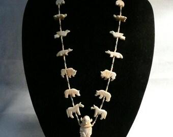 Native American Style Bone Fetish Heishi Buffalo Kachina Necklace  #38
